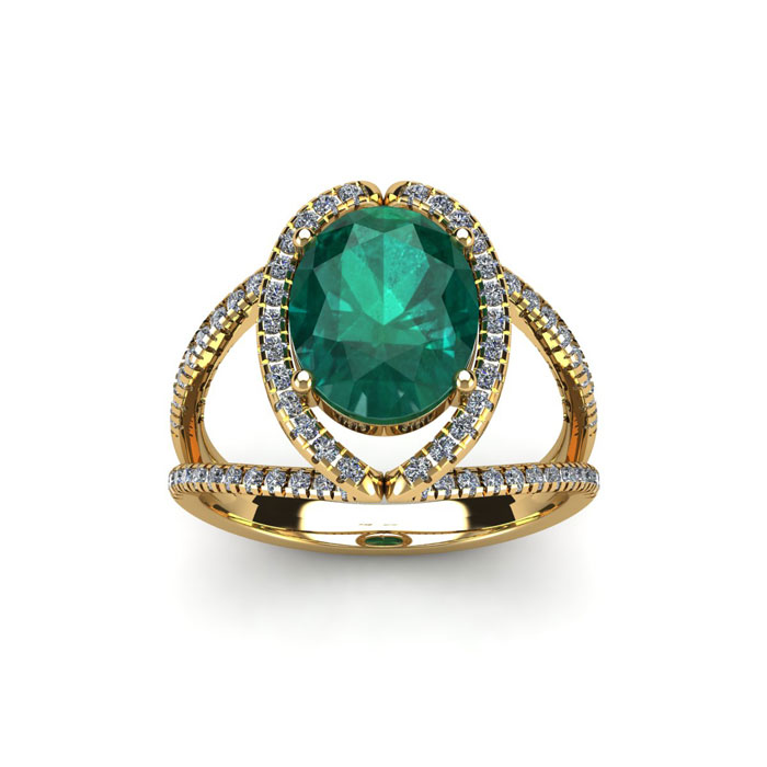 1.5 Carat Oval Shape Emerald Cut & Halo Diamond Ring in 14K Yellow Gold (3.5 g), H/I by SuperJeweler
