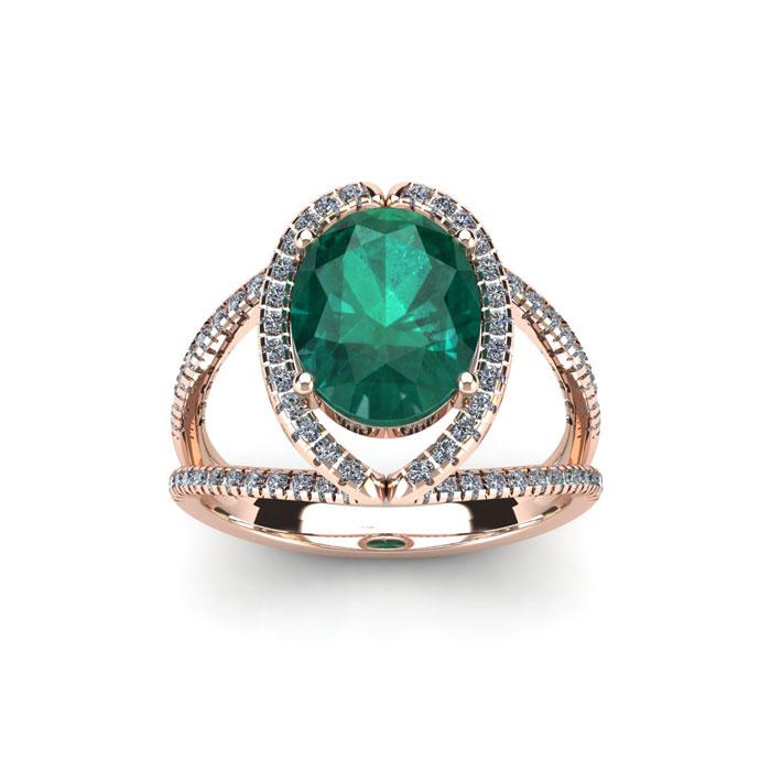 1.5 Carat Oval Shape Emerald Cut & Halo Diamond Ring in 14K Rose Gold (3.5 g), H/I by SuperJeweler