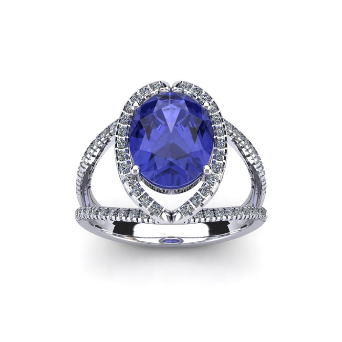 1 3/4 Carat Oval Shape Tanzanite & Halo Diamond Ring in 14K White