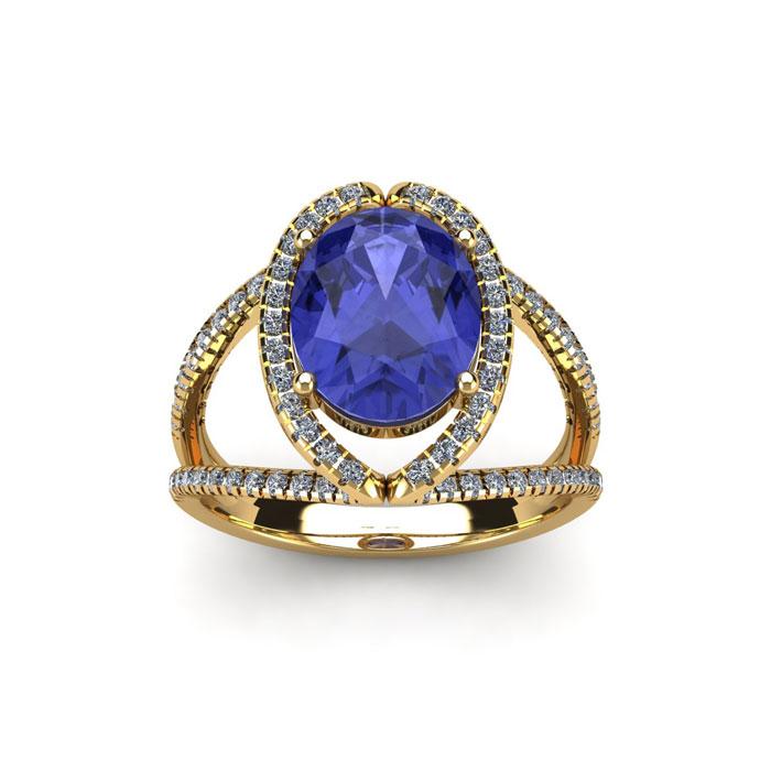 1 3/4 Carat Oval Shape Tanzanite & Halo Diamond Ring in 14K Yellow Gold (3.5 g), H/I by SuperJeweler