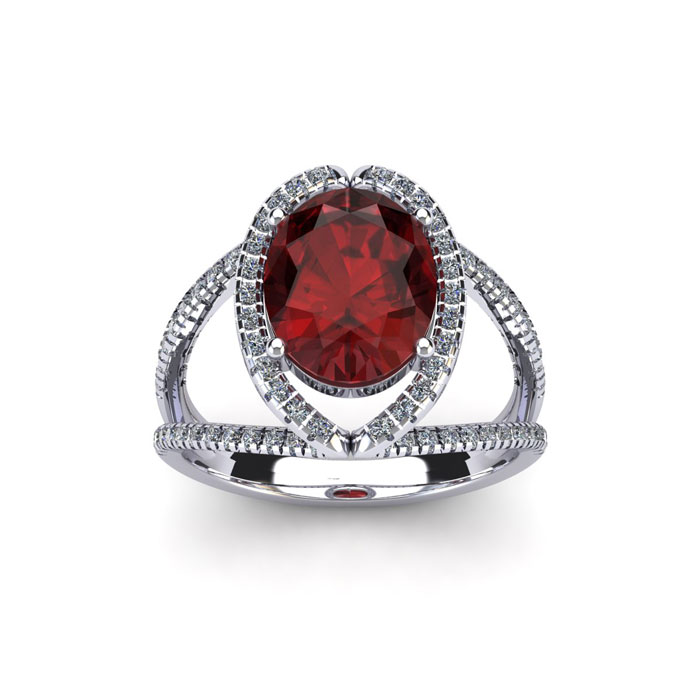 2 Carat Oval Shape Garnet & Halo Diamond Ring in 14K White Gold (