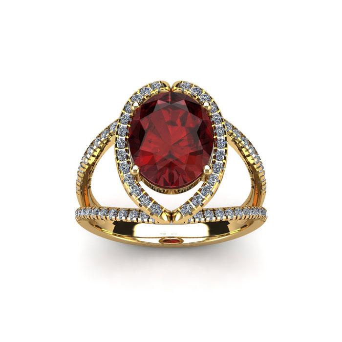 2 Carat Oval Shape Garnet & Halo Diamond Ring in 14K Yellow Gold