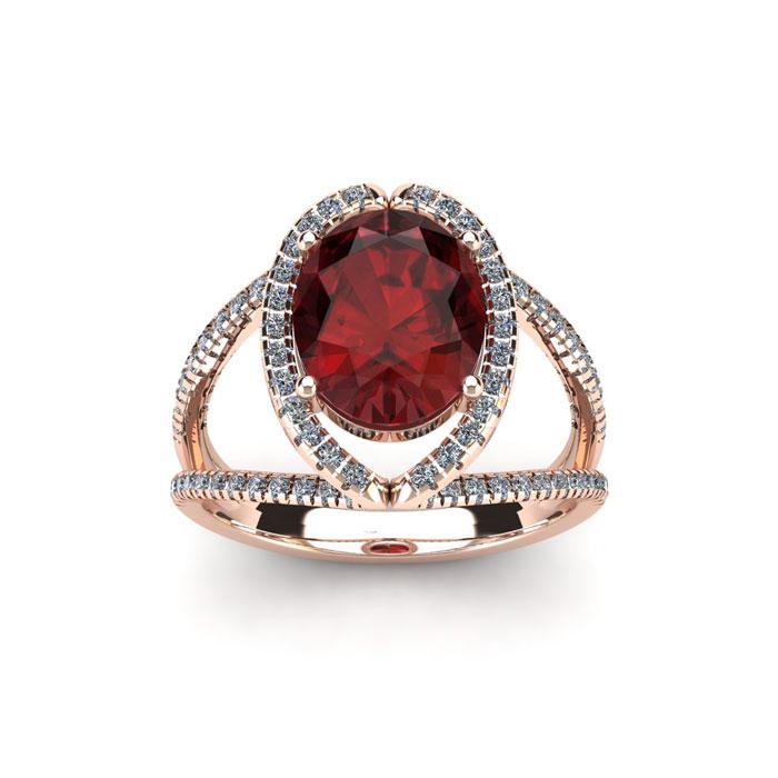 2 Carat Oval Shape Garnet & Halo Diamond Ring in 14K Rose Gold (3.5 g), H/I by SuperJeweler