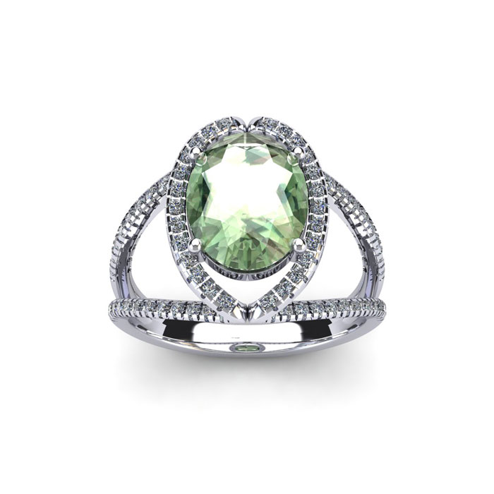 1.5 Carat Oval Shape Green Amethyst & Halo Diamond Ring in 14K Wh