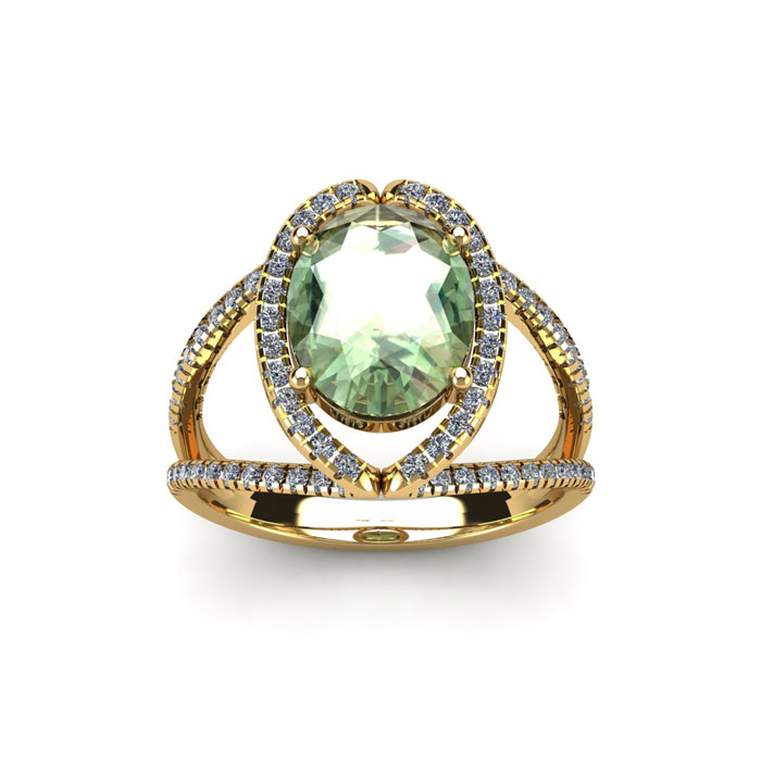1.5 Carat Oval Shape Green Amethyst & Halo Diamond Ring in 14K Yellow Gold (3.5 g), H/I by SuperJeweler
