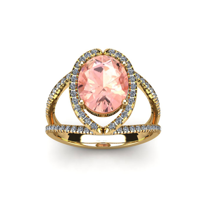 1.5 Carat Oval Shape Morganite & Halo Diamond Ring in 14K Yellow