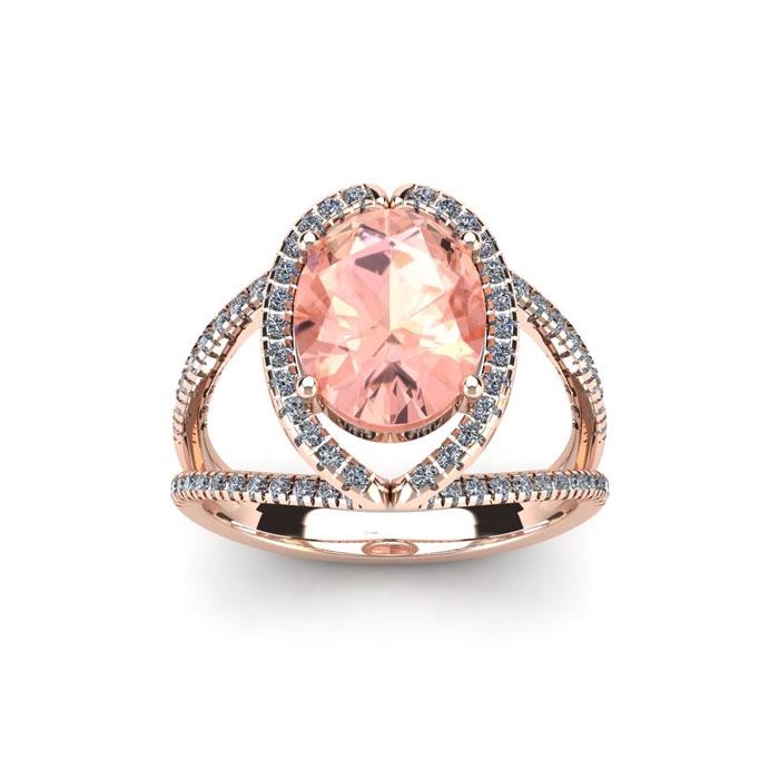 1.5 Carat Oval Shape Morganite & Halo Diamond Ring in 14K Rose Go