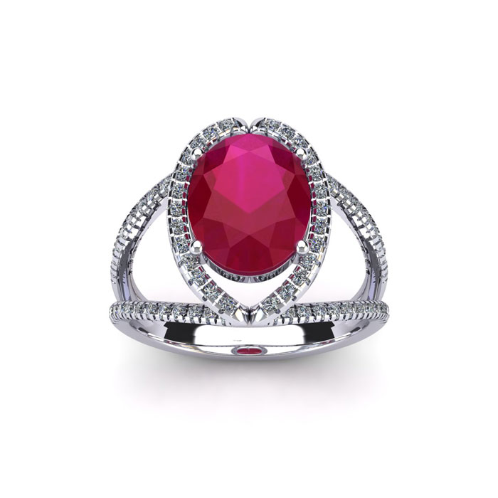 2 Carat Oval Shape Ruby & Halo Diamond Ring in 14K White Gold (3.