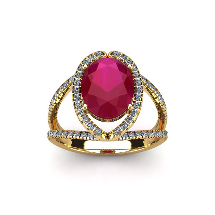 2 Carat Oval Shape Ruby & Halo Diamond Ring in 14K Yellow Gold (3.5 g), H/I by SuperJeweler