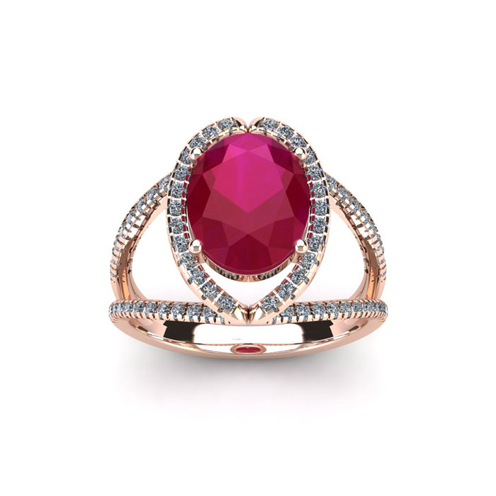 2 Carat Oval Shape Ruby & Halo Diamond Ring in 14K Rose Gold (3.5 g), H/I by SuperJeweler