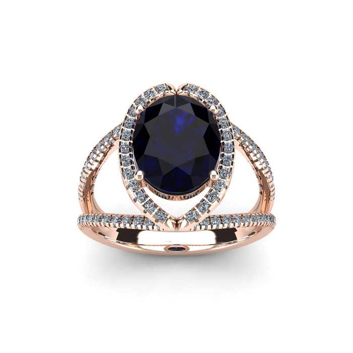 2 Carat Oval Shape Sapphire & Halo Diamond Ring in 14K Rose Gold