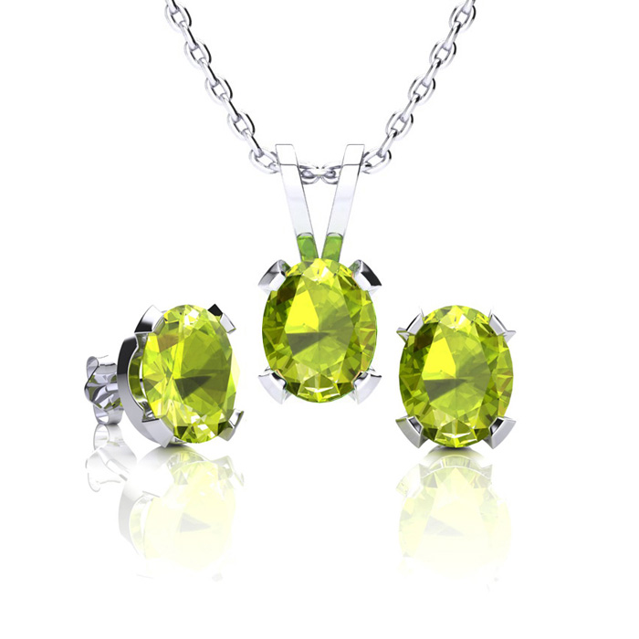 1 1/2 Carat Oval Shape Peridot Necklace and Earring Set In Sterling Silver
