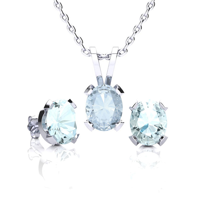 1 1/3 Carat Oval Shape Aquamarine Necklace & Earring Set in Sterling Silver ..