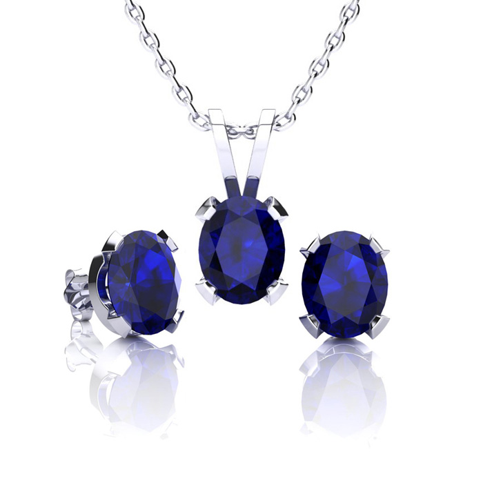 Image of September Birthstone and The Most Popular Gemstone In The World! 1 3/4 Carat Oval Shape Sapphire Necklace and Earring Set In Sterling Silver