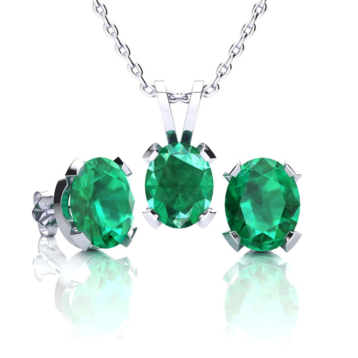 2.5 Carat Oval Shape Emerald Necklace & Earring Set in Sterling Silver by SuperJeweler
