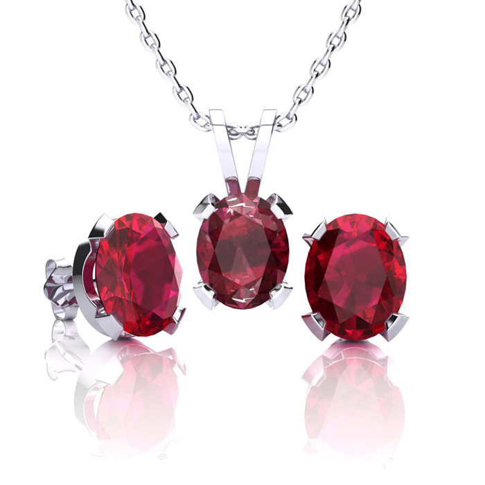 3 Carat Oval Ruby Necklace & Earring Set in Sterling Silver by SuperJeweler