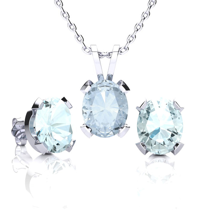 3 1/2 Carat Oval Shape Aquamarine Necklace & Earring Set in Sterling Silver ..