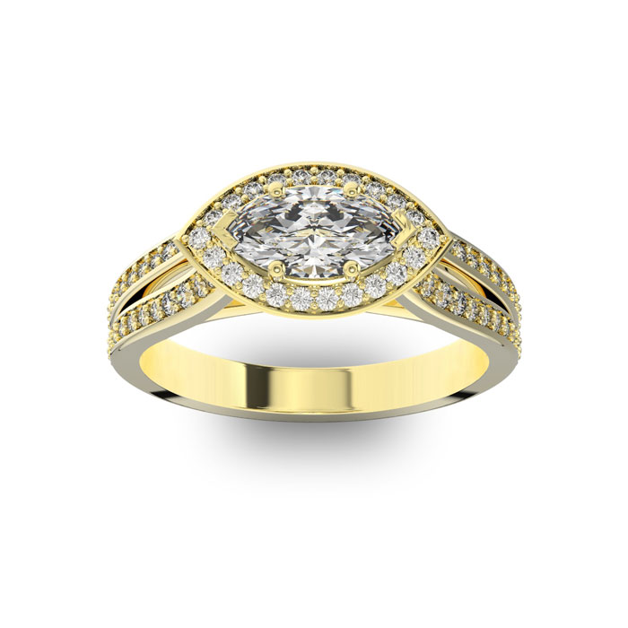 1 Carat Marquise Shape Antique Halo Diamond Engagement Ring in 14
