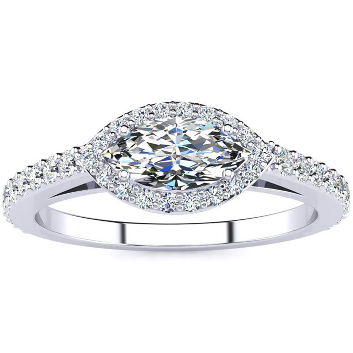 3/4 Carat Marquise Shape Halo Diamond Engagement Ring in 14K Whit
