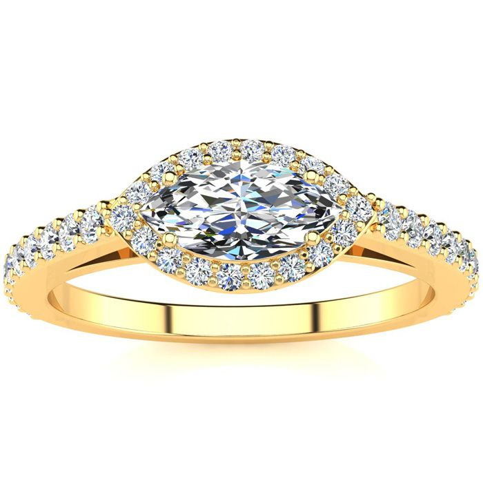 3/4 Carat Marquise Cut Halo Diamond Engagement Ring in 14 Karat Yellow Gold