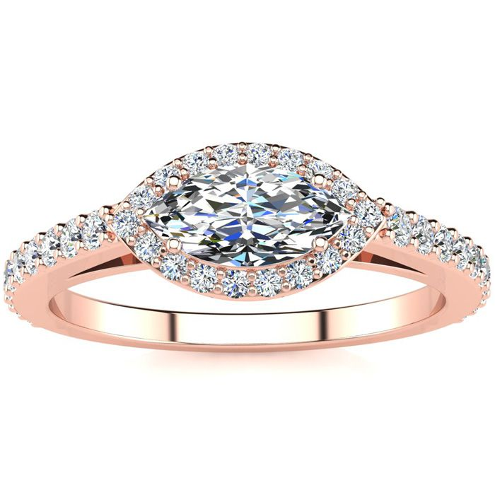 3/4 Carat Marquise Shape Halo Diamond Engagement Ring in 14K Rose