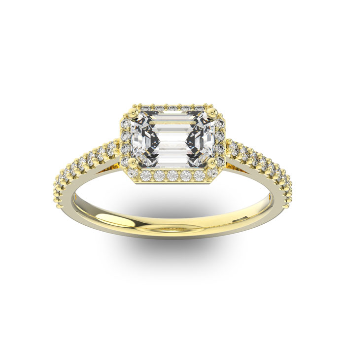 1 1/3 Carat Halo Diamond Engagement Ring in 14K Yellow Gold (2.8 g) (H-I, SI1-SI2 Clarity Enhanced) by SuperJeweler