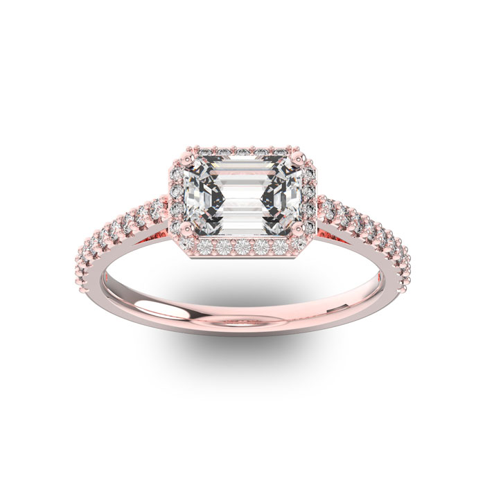 1 1/3 Carat Halo Diamond Engagement Ring in 14K Rose Gold (2.8 g) (H-I, SI1-SI2 Clarity Enhanced) by SuperJeweler