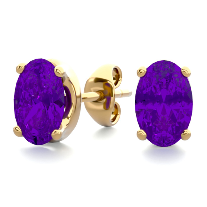 1 Carat Oval Shape Amethyst Stud Earrings in 14K Yellow Gold Over Sterling Silver by SuperJeweler