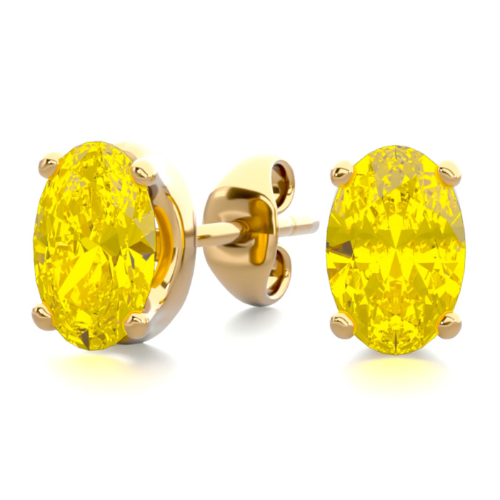 1 Carat Oval Shape Citrine Stud Earrings in 14K Yellow Gold Over