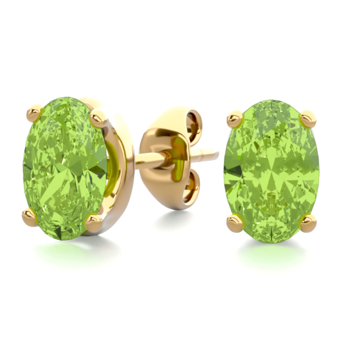 1 Carat Oval Shape Peridot Stud Earrings in 14K Yellow Gold Over