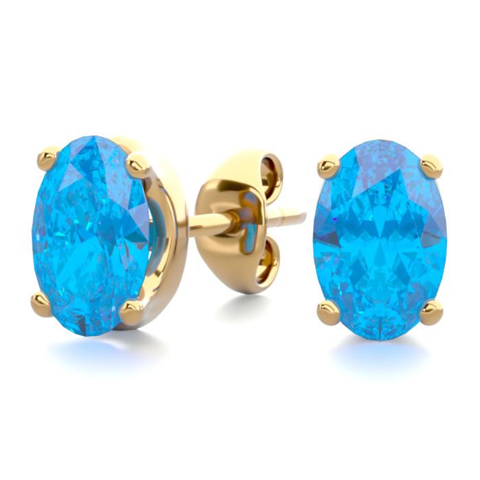 1 Carat Oval Shape Blue Topaz Stud Earrings in 14K Yellow Gold Ov