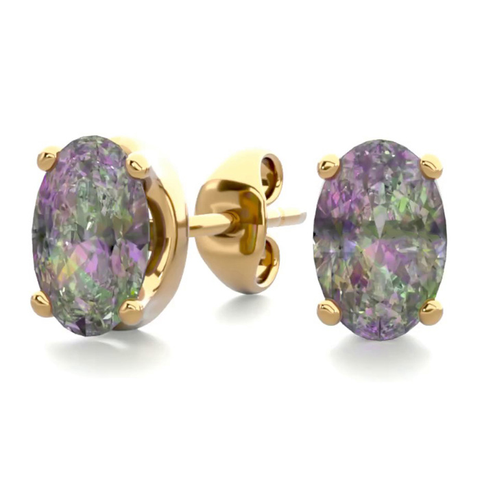 1 Carat Oval Shape Mystic Topaz Stud Earrings in 14K Yellow Gold