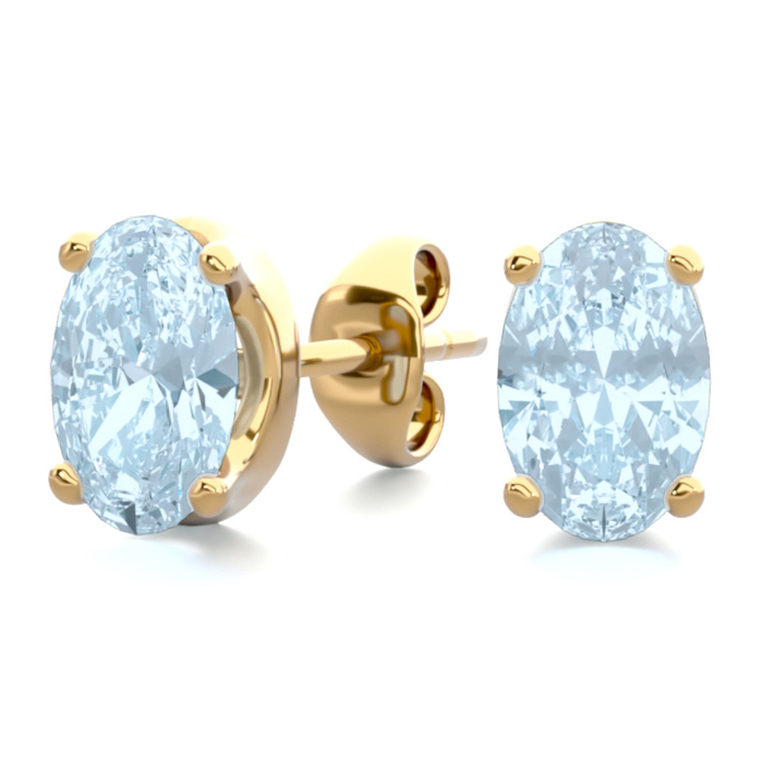 1 Carat Oval Shape Aquamarine Stud Earrings in 14K Yellow Gold Ov
