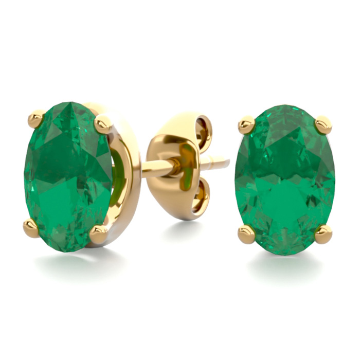 1 Carat Oval Shape Emerald Stud Earrings in 14K Yellow Gold Over