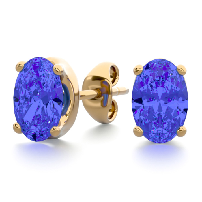 1 Carat Oval Shape Tanzanite Stud Earrings in 14K Yellow Gold Ove