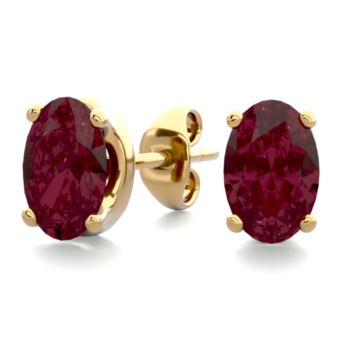 1 Carat Oval Shape Garnet Stud Earrings in 14K Yellow Gold Over S