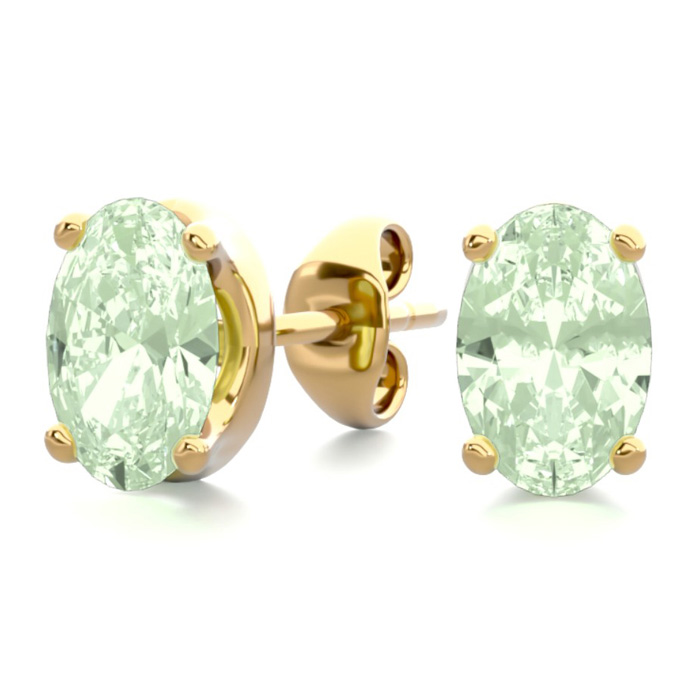 1 Carat Oval Shape Green Amethyst Stud Earrings in 14K Yellow Gol