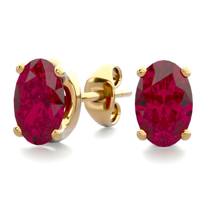 1 Carat Oval Shape Ruby Stud Earrings in 14K Yellow Gold Over Ste
