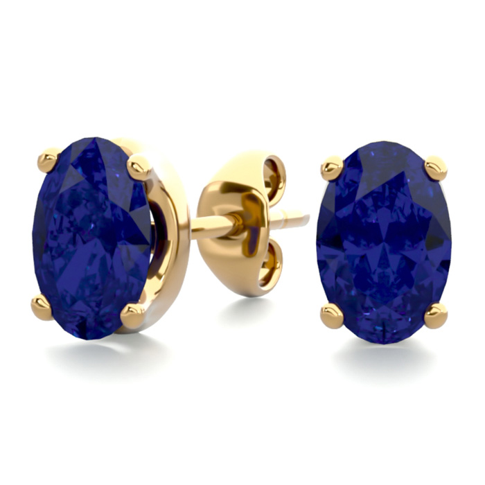 1 Carat Oval Shape Sapphire Stud Earrings in 14K Yellow Gold Over