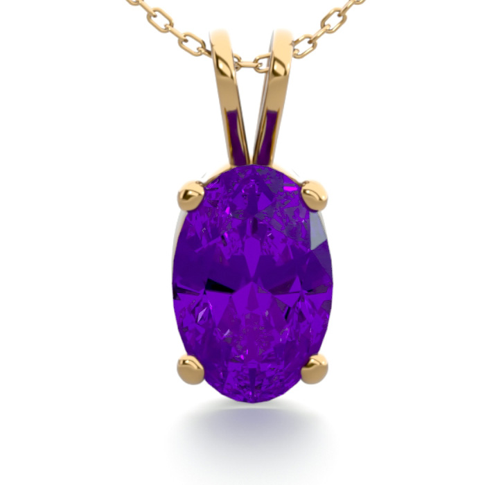 1/2 Carat Oval Shape Amethyst Necklace in 14K Yellow Gold Over St