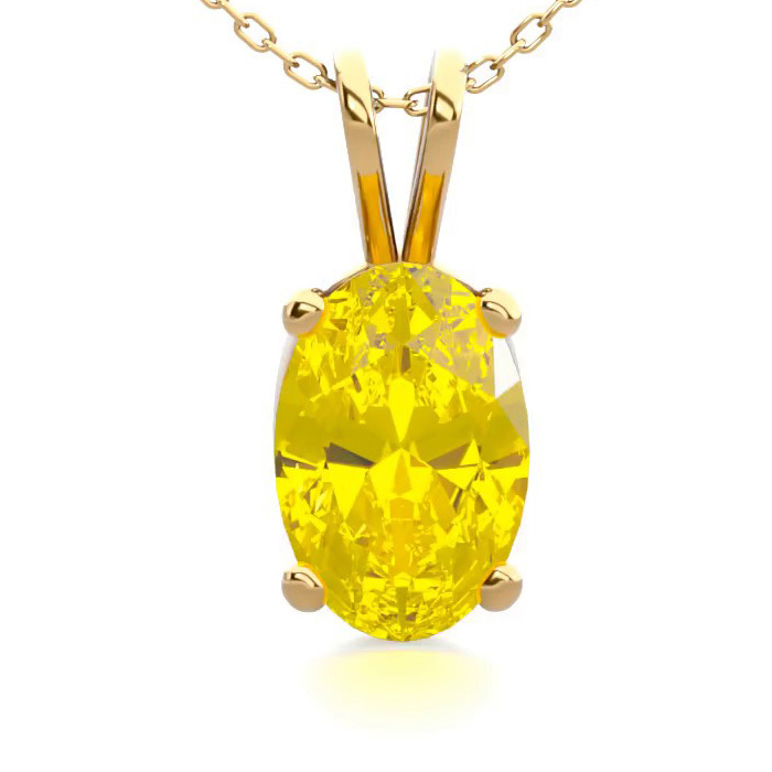 1/2 Carat Oval Shape Citrine Necklace in 14K Yellow Gold Over Ste