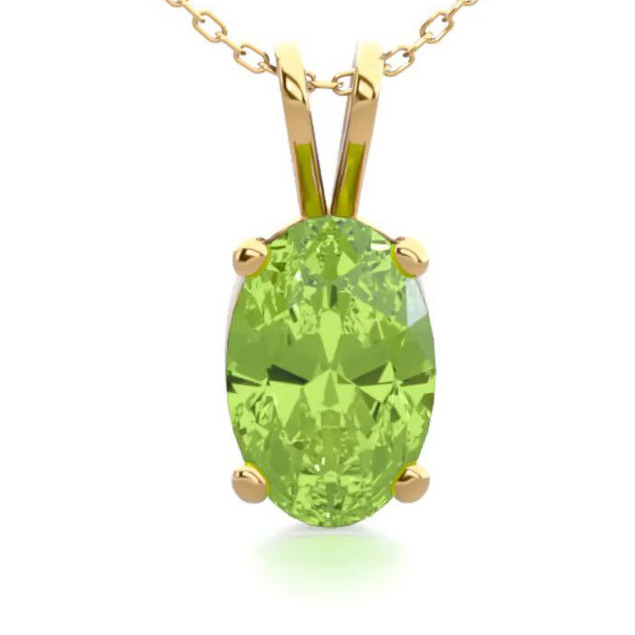 1/2 Carat Oval Shape Peridot Necklace in 14K Yellow Gold Over Ste