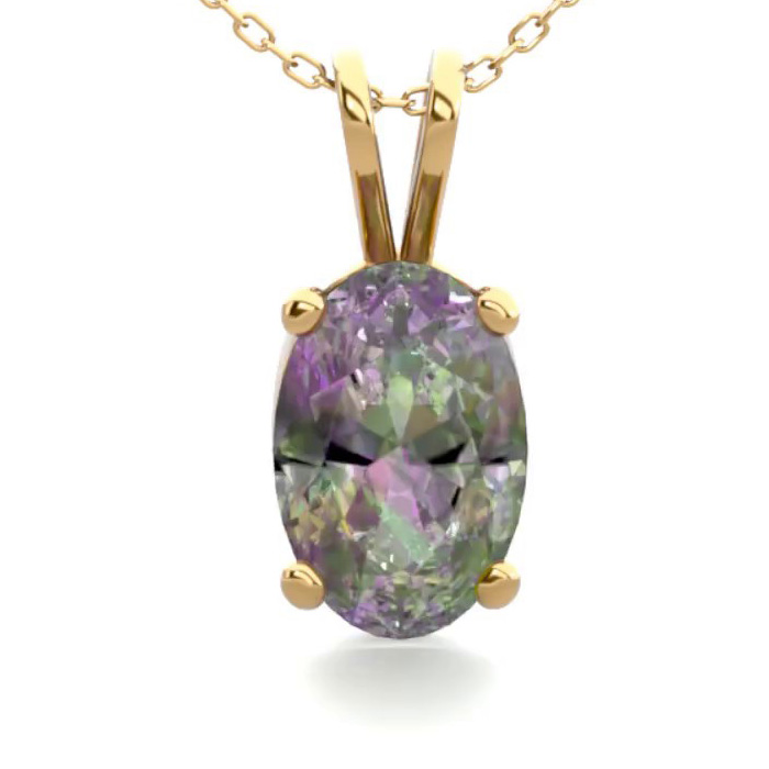 1/2 Carat Oval Shape Mystic Topaz Necklace in 14K Yellow Gold Ove