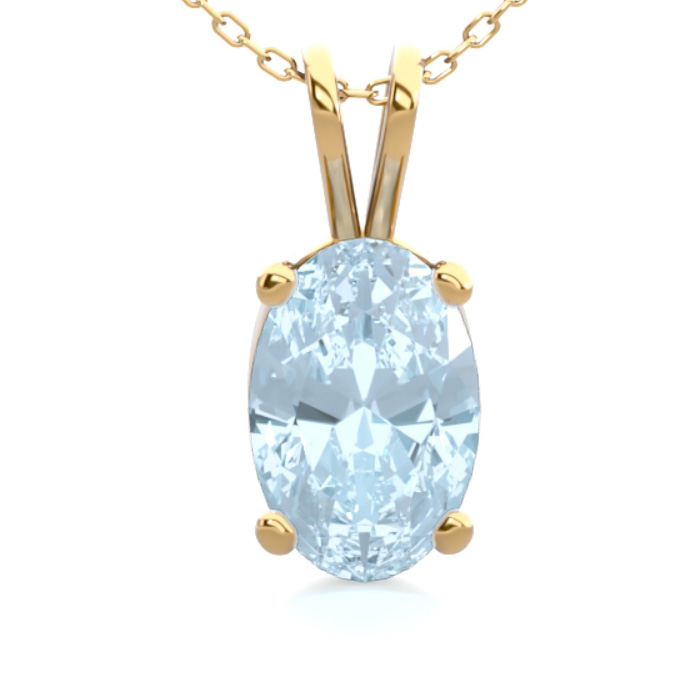1/2 Carat Oval Shape Aquamarine Necklace in 14K Yellow Gold Over