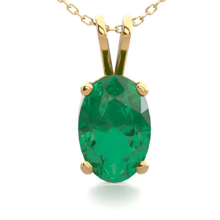 1/2 Carat Oval Shape Emerald Necklace in 14K Yellow Gold Over Ste