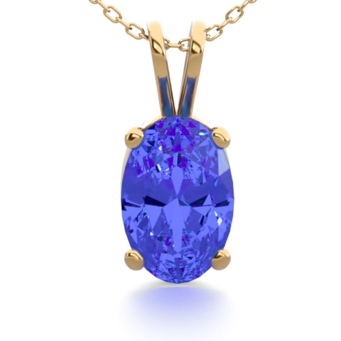 1/2 Carat Oval Shape Tanzanite Necklace in 14K Yellow Gold Over S