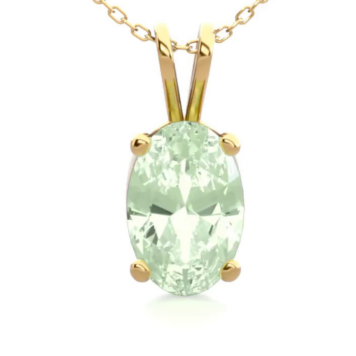 1/2 Carat Oval Shape Green Amethyst Necklace in 14K Yellow Gold O
