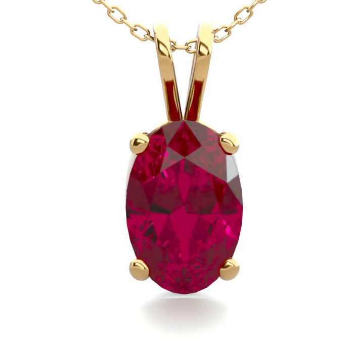 1/2 Carat Oval Shape Ruby Necklace in 14K Yellow Gold Over Sterli