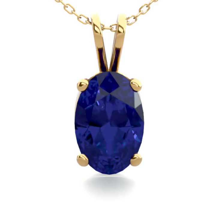 1/2 Carat Oval Shape Sapphire Necklace in 14K Yellow Gold Over St