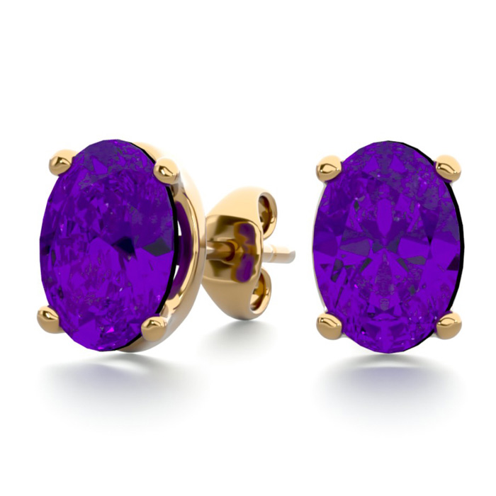 1.5 Carat Oval Shape Amethyst Stud Earrings in 14K Yellow Gold Ov